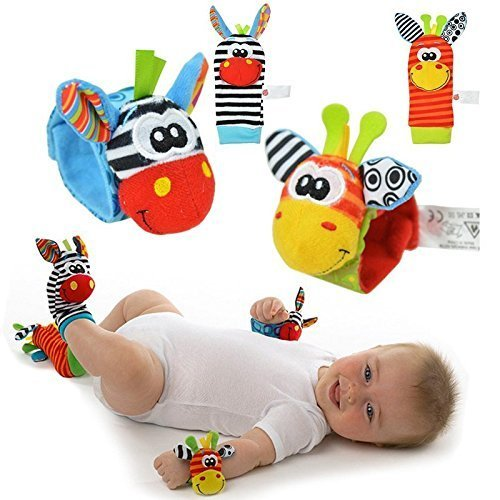 Daisy 4 Packs Animal Wrist Rattle & Foot Finder Set - Developmental Soft Toys for Infant Baby Kids Encourages Baby...