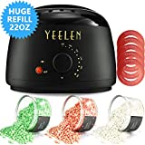 Hair Removal Wax Without Strips - Yeelen Wax Warmer Hair Removal Waxing Kit Wax Melts 3 Hard Wax Beans(21.16oz) 10 Wax Applicator Sticks All Body, Fac Applicator Sticks All Body, Face, Bikini Area, Legs at Home Waxing