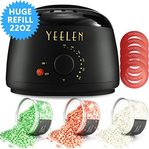 Yeelen Wax Warmer Hair Removal Waxing Kit Wax Melts 3 Hard Wax Beans(21.16oz) 10 Wax Applicator Sticks All Body, Fac Applicator Sticks All Body, Face, Bikini Area, Legs at Home Waxing