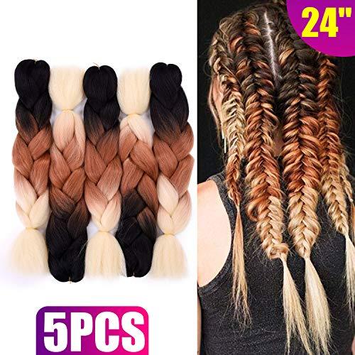 Silike 24 Jumbo Braid Crochet Hair (5 Pieces) Afro Twist Jumbo Braiding Hair Extensions For Women (Black/Brown/613)