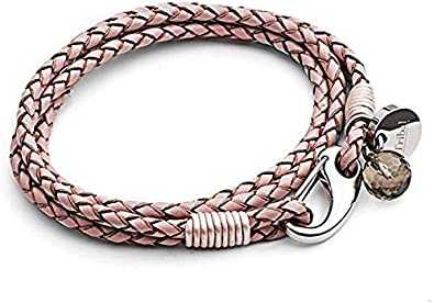 Pulsera de Cuero Rosa XL con Dije para Mujer, Pulsera de Cuero de 4 Tiras con Cierre Reasa, Dije de Cristal + Disco Talla XL 21cm, de Tribal Steel