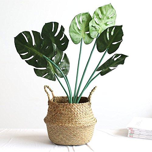 WCIC Faltbar Handwerk Weben Bauch Korb, Natürlich Seegras Lagerung Oganiser Pot Blume Vase Hängend Korb Mit Griff (Kleine Größe 7,87″X6,69)