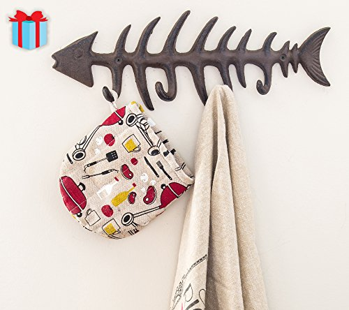 """Decorative Fish Bones Wall Mount Towel Rack by Comfify 