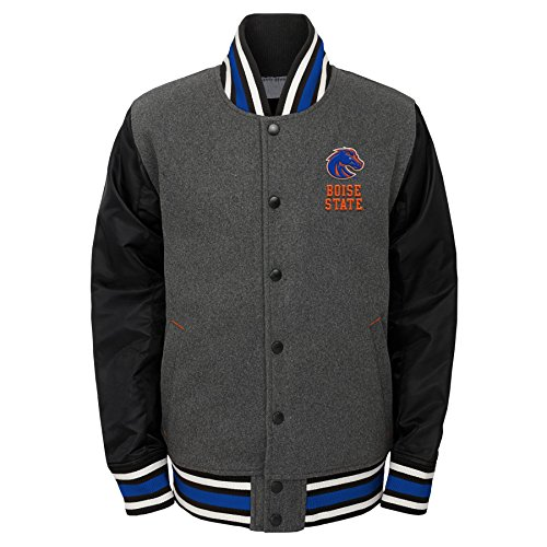 NCAA Boise State Broncos Youth Boys Letterman Varsity Jacket, Medium (10-12), Charcoal -