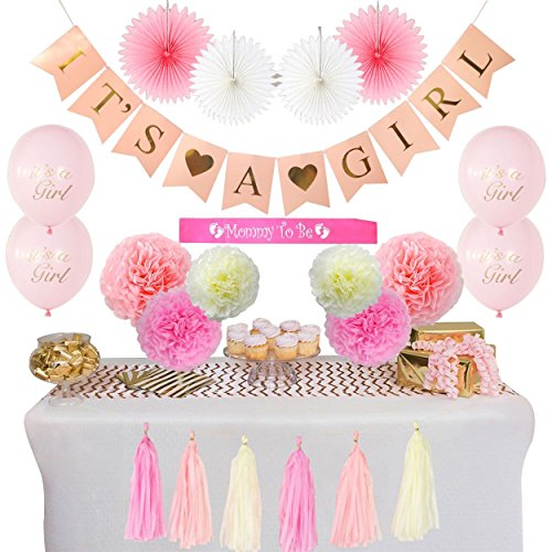 Baby Shower Decorations for Girl 22 Pieces- Its a Girl Party Banner Decor | Pre Strung Mommy to be Sash | Balloons | Pom Pom | Pink/Pastel Pink/Cream | Paper Fans | Nursery Office Decor -