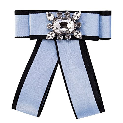 Wcysin Fashion Nice Brooch Bow Ribbon Diamond Brooch Wedding Party Bow Tie Collar Brooch Pin for Women & Girl (Blue)