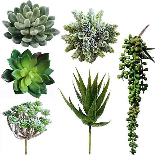 Juna Creations Assorted Decorative Faux Succulent Artificial Succulent Cactus Fake Cacti Plants with Gray Pots, Set of 6