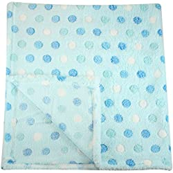 30x30 Inch Plush Fleece Baby Blanket - Assorted Colors Polka Dot Blankets by bogo Brands (Blue)