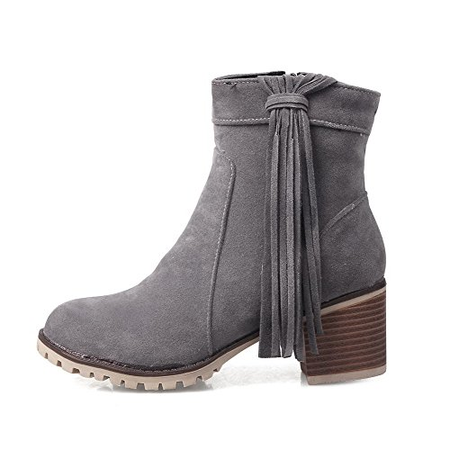 Gray AmoonyFashion Imitated Closed Women's Heels Solid Kitten Boots Zipper Suede Toe Round qPpFqr