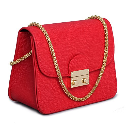 Leather Small Cross Body Purse Crossbody Bag Black Red Evening Party Wedding Clutches Shoulder (Red Purse)