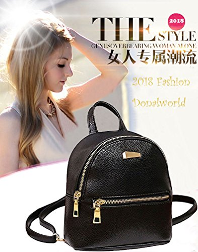 Donalworld Women Floral School Bag Travel Cute PU Leather Mini Backpack S Black3 by Donalworld (Image #1)