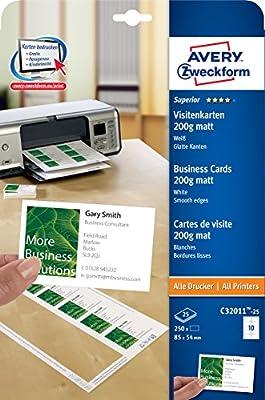 Avery Zweckform C32011 25 Superior Visitenkarten 250 Stück 85 X 54 Mm Einseitig Bedruckbar Matt 25 Blatt