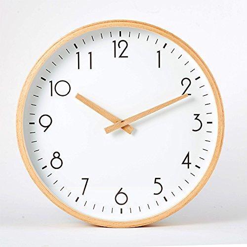 RBB 北欧のシンプルなブナの時計、ログ、木材、ミュート、リビングルーム、ミニマリスト木製時計,12インチ,ブナの木のポインタデジタルチキンウィング B07DMFKB11 12インチ|ブナの木のポインタデジタルチキンウィング ブナの木のポインタデジタルチキンウィング 12インチ