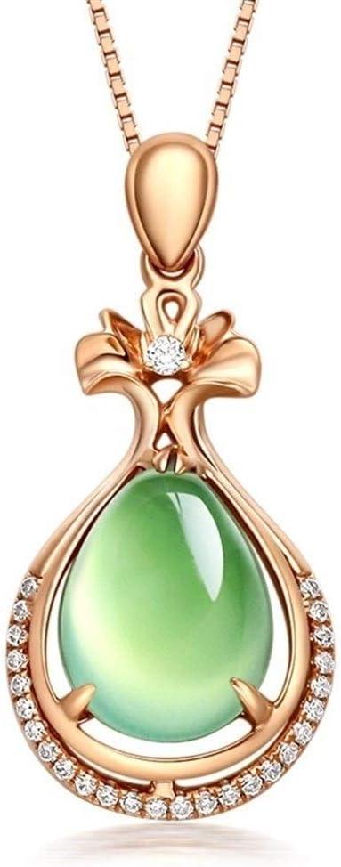 LSBXWL Pendientes Línea Colgante De Oro Rosa Jade Chian Piedra Preciosa del Diamante Collar Turquesa Muchacha De Las Mujeres