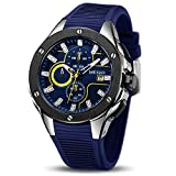 MEGIR Men's Sports Analogue Army Military Chronograph Luminous Quartz Watch with Stylish Blue Silicone Strap for Gifts (2053 Blue)