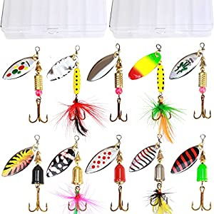 10pcs Fishing Lure Spinnerbait ,Bass Trout Salmon Hard Metal Spinner Baits Kit with 2 Tackle Boxes by Tbuymax