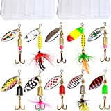 10pcs Fishing Lure Spinners,Bass Trout Salmon Hard Metal Spinnerbaits kit with 2 Tackle