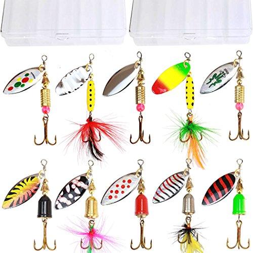 Bait Use Trout Fishing (10pcs Fishing Lure Spinnerbait,Bass Trout Salmon Hard Metal Spinner Baits Kit with 2 Tackle Boxes by Tbuymax)