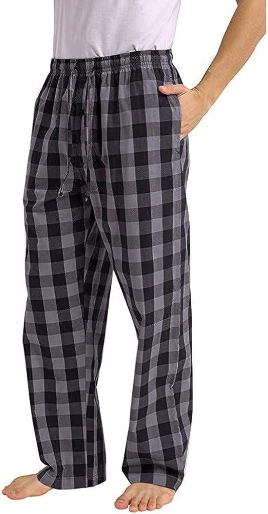 Goldatila Pantaloni da Uomo Pantaloni del Pigiama Pantaloni da Salotto a Quadretti Pantaloni Pantaloni in Misto Cotone Pantaloni Larghi Scozzesi Casual Pantaloni da Notte da Notte