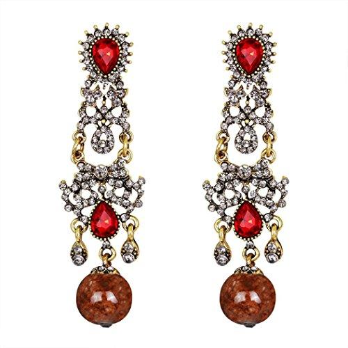 Earrings Sapphire Dragonfly (Yeefant 1 Pair Fashion Zircon Diamond Encrusted Love Heart Jewelry Earrings for Woman,Red)