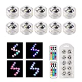 ALED LIGHT 10pcs Waterproof Submersible Underwater Light, 13 Colors Small LED Tea Light with Two Remote Controller for Christmas/Halloween/Party/Birthday/Wedding