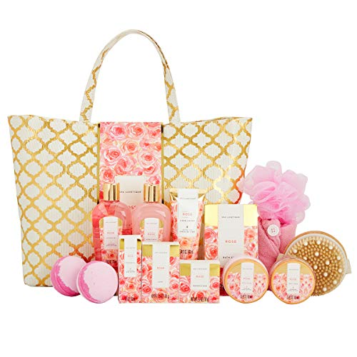 Spa Luxetique Spa Gift Baskets for Women, Rose Gift Baskets for Women, Luxury 15pc Spa Bath Gift Set, Relaxing at Home Spa Gift Set with Massage Oil, Soap, Shampoo Bar. Best Gift Sets for Women.