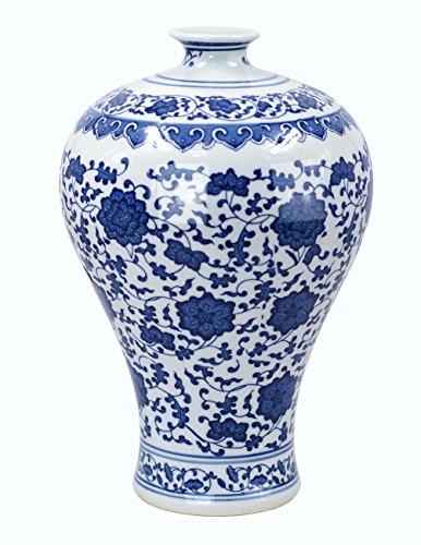 Porcelain Harmony Lotus (Dahlia Ancient Lotus Motif Blue and White Porcelain Flower Vase, 13-Inch, Plum Vase)