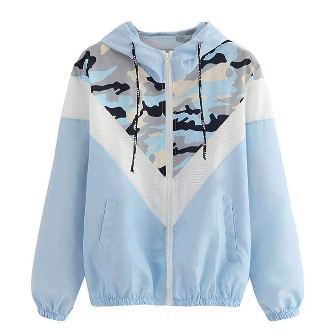 Longra Damen Camouflage Übergangsjacke Camo Military Jacke Leichte  Herbstjacke Streetwear Kapuzenjacke mit Reißverschluss Damen Windbreaker  Softshelljacken 9b613a016c