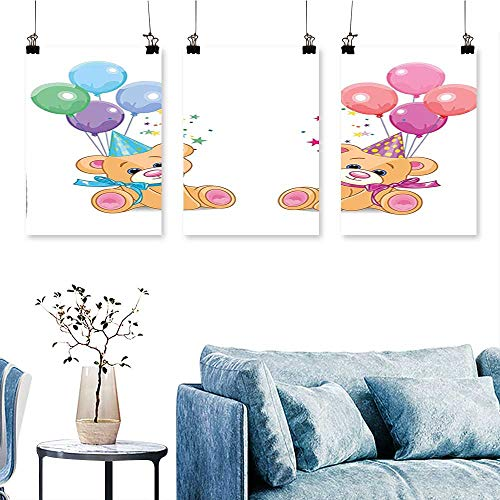 Canvas Wall ArtTeddy Bears Sitting with Party Baloons Celebration Kids Toys Funny Design Print On Canvas No Frame 16 INCH X 30 INCH X 3PCS ()
