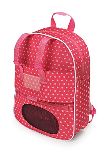 Doll Travel Backpack with Plush Friend Compartment - Pink/Star (fits American Girl Dolls)