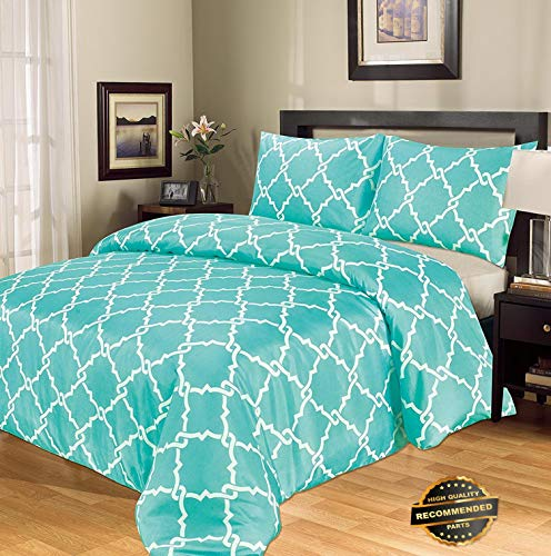 Sandover Galaxy 3-Piece Printed Luxury Modern Duvet Cover Set with Pillow Cases TurquoiseQueen | Style ()