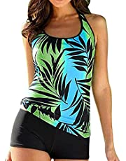 COLO Women Two Pieces Tankini Sets Printed Loose Fit Adjustable Strap with Shorts Retro Plus Size