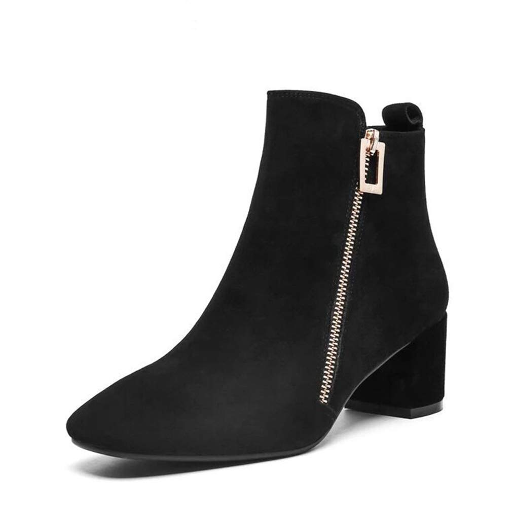 Black Women's Booties, Mid Heel Thick Heel Scrub Leather Fashion Boots Ladies Fall Winter Wild Fashion Boots (color   Black, Size   35)