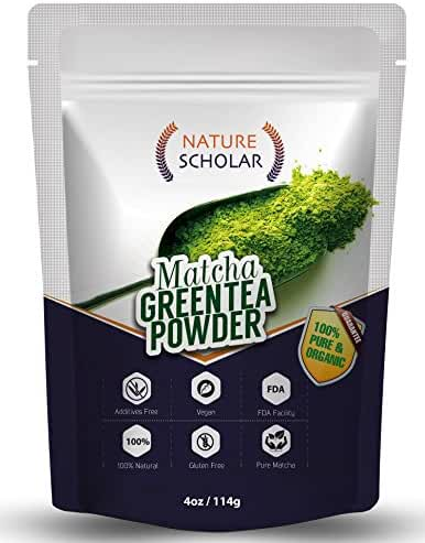 Nature Scholar Matcha Green Tea Powder 4 Oz ( 113 servings) - 100% Pure Matcha - Antioxidant Anti-Aging Matcha Tea - Weight Loss, Boost Energy and Focus