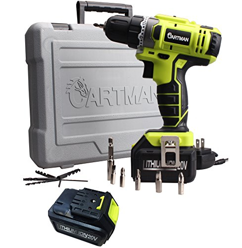 Cartman 20V Li-ion Battery Cordless Drill/Driver, 2-Speeds 1500RPM 21+1 Speed Control with 12 Bits, 2 Battery Pack (12 Speed Control)