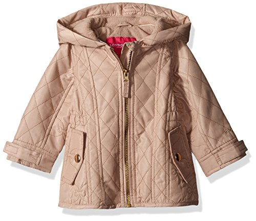 London Fog Baby Girls' Infant Midweight Multi Quilted Barn Jacket, Camel, 12M
