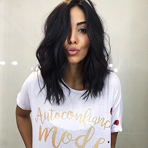 - Bob Wigs Short Wavy Syntheyic Hair JUNSI HAIR 14 Inch Full Curly Wigs for Black Women Natural Looking Heat Resistant with Free Wig Cap (Black)