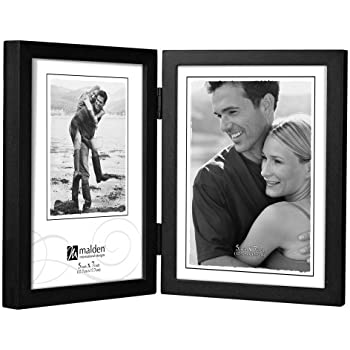malden international designs black concept wood picture frame double vertical 2 5x7 - Double 5x7 Picture Frame