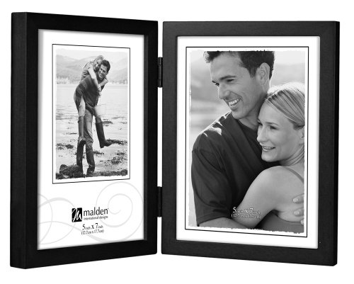 Malden International Designs Black Concept Wood Picture Frame, Double Vertical, 2-5x7, Black