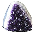 Class 1 Polished Deep Purple Uruguay Amethyst UPRIGHT Standing Stone with Wood Display Base By JIC Gem: 5-6 Lb