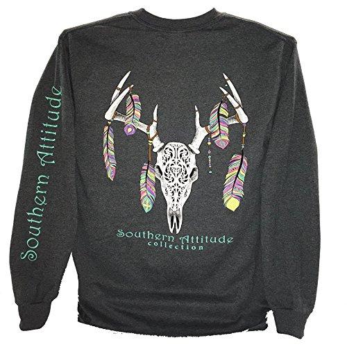 Southern Attitude Feather Deer Skull Dark Heather Long Sleeve Shirt (Medium)