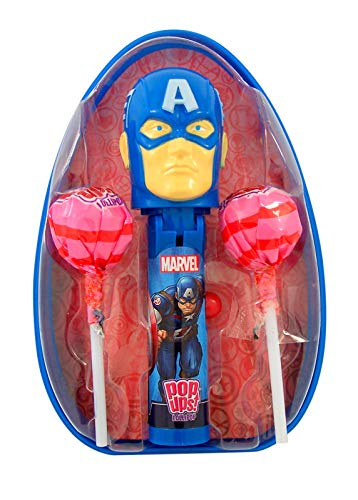Marvel Avengers Giant Easter Egg with Captain America Pop Up Lollipop Case and 2 Suckers, 0.7 -