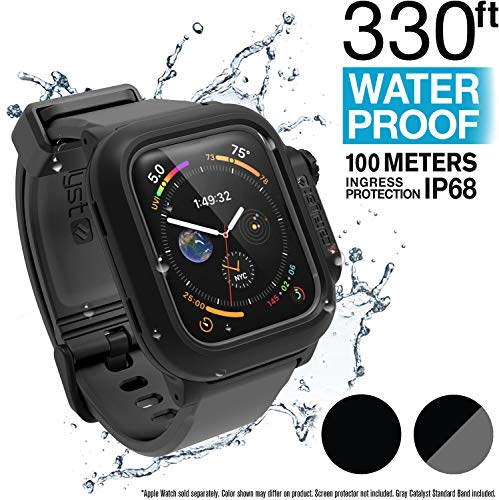 (Catalyst Waterproof Apple Watch Case Series 4 44mm with Premium Soft Silicone Apple Watch Band, Shock Proof Impact Resistant [Rugged iWatch Protective case], Black/Gray)