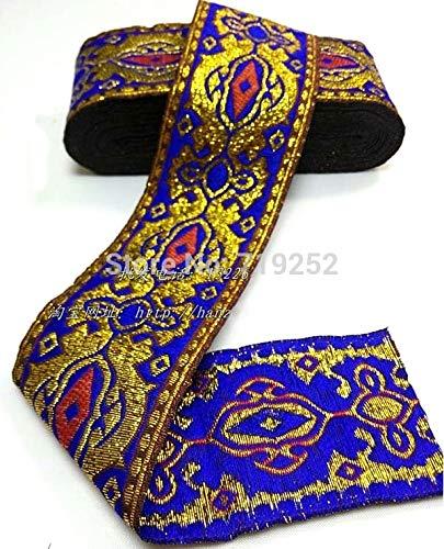Utini 50mm 5cm 2' Blue Costume Curtain Decoration Laciness Lace Woven Embroidery National Jacquard Ribbon Webbing Angelas Eye Filigree