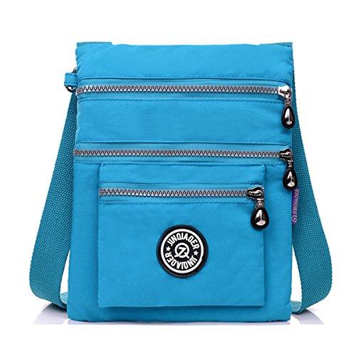 Sky Water Nylon Small Shoulder Bag TianHengYi body Resistant Blue Multilayers Cross ZqzAxxw5R