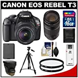Canon EOS Rebel T3 12.2 MP Digital SLR Camera Body and EF-S 18-55mm IS II Lens with 75-300mm III Lens + 16GB Card + Battery + Case + (2) Filters + Tripod + Cleaning and Accessory Kit