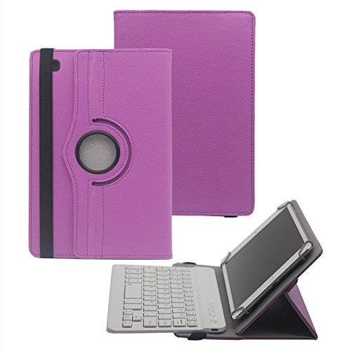 Tsmine Bluetooth Keyboard Case for Teclast M20 10.1 Inch Tablet - Universal 2in1 Detachable Wireless Keyboard [QWERTY] w/Rotating Leather Cover [NOT Include Tablet], Purple/White
