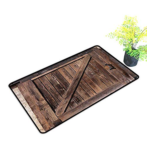 (gmnalahome Super Absorbs Mud Doormat Aged Sliding Door with Rustic Texture Authentic Vintage Architectural Rural Decorative Pri No Odor Durable Anti-Slip W35 x H23 INCH)