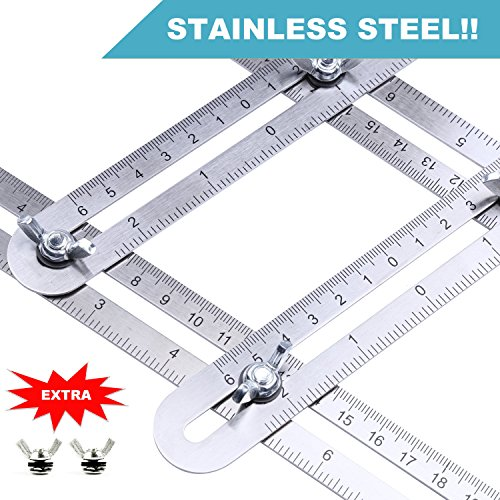 Angle Measuring Ruler Full Metal Template Tool with 2 Extra Knobs - Engraved Stainless Steel Angular Scale Measurement for Carpenter, Woodwork, Roofing Tools, Engineering, DIY, Tile Floor Installation