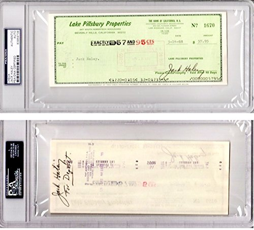 - Jack Haley Signed - Autographed bank check signed twice - Deceased 1979 - Tin Man actor from The Wizard of Oz - PSA/DNA Certificate of Authenticity (COA) - PSA Slabbed Holder